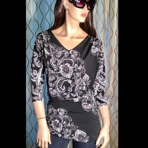White House Black Market Top Blouse Floral Small